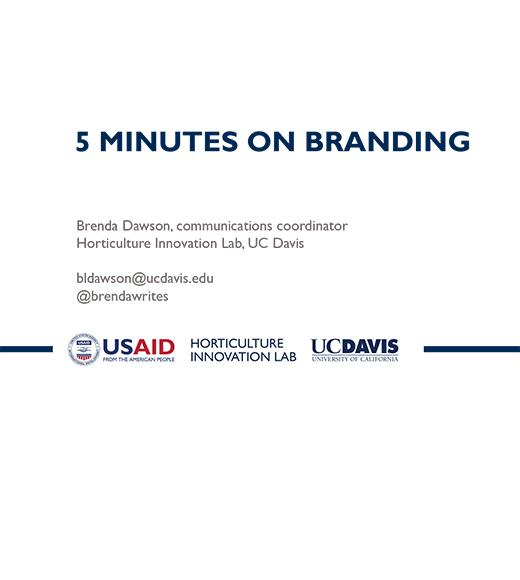 """5 MINUTES ON BRANDING, Brenda Dawson, communications coordinator, Horticulture Innovation Lab"" title slide"