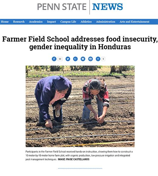 Penn State News - photo with women farmers and headline: Farmer field school addresses food insecurity, gender inequality in Honduras