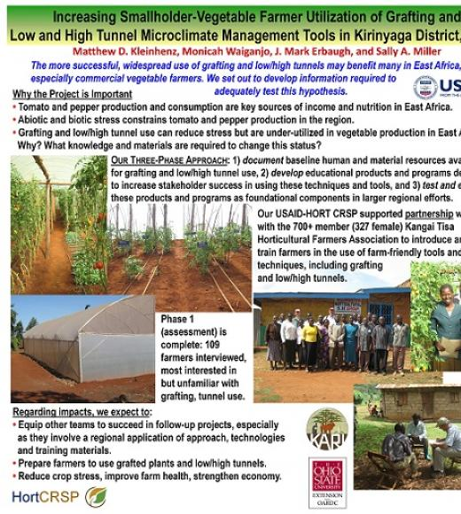 """Increasing Smallholder-Vegetable Farmer Utilization of Grafting andLow and High Tunnel Microclimate Management Tools in KirinyagaDistrict, Kenya"" poster"
