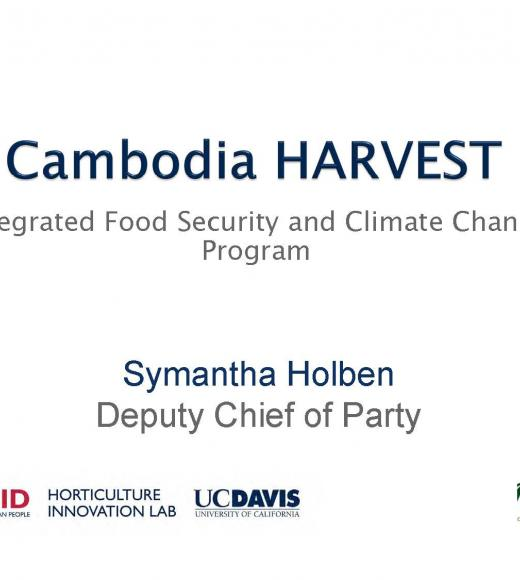 """Cambodia HARVEST Integrated food security and climate change program"" title slide"