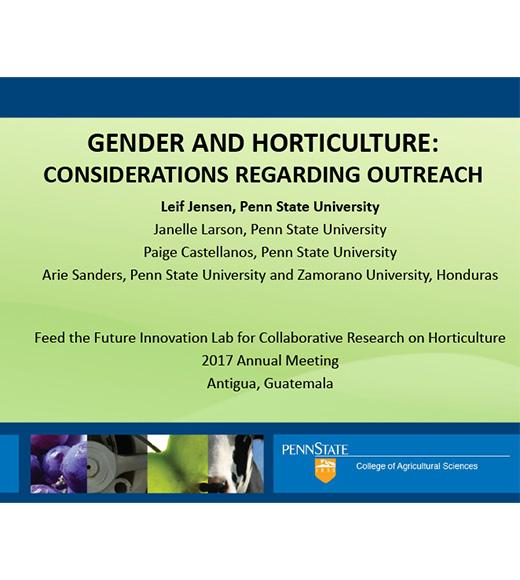 "title slide ""GENDER AND HORTICULTURE: CONSIDERATIONS REGARDING OUTREACH"""