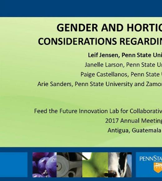 """GENDER AND HORTICULTURE: CONSIDERATIONS REGARDING OUTREACH"" title slide"