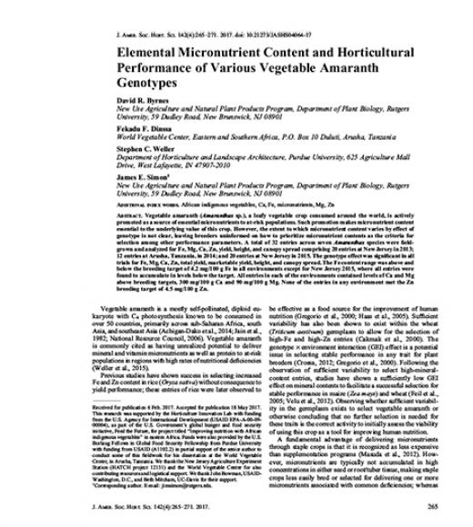 Journal article: Elemental micronutrient content and horticultural performance of various vegetable amaranth genotypes