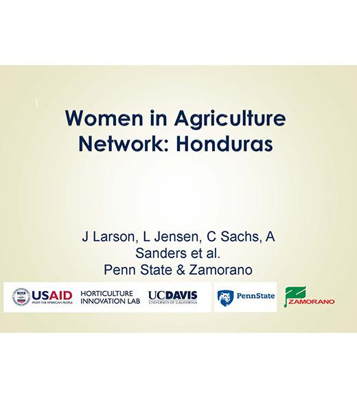 """Women in Agriculture Network: Honduras"" title slide"