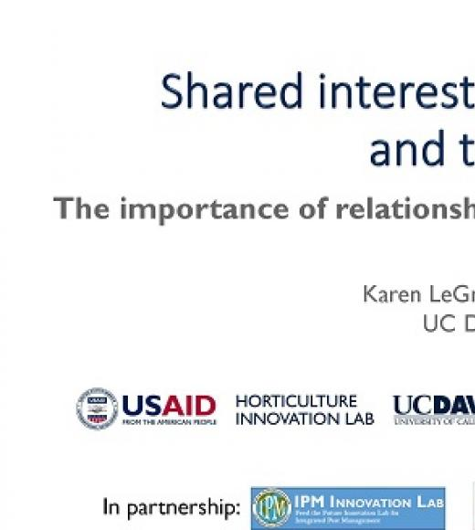 """Shared interest, participation and trust, The importance of relationships in developing innovations"" title slide"
