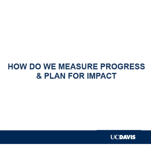 """HOW DO WE MEASURE PROGRESS AND PLAN FOR IMPACT"" title slide with UC Davis logo"