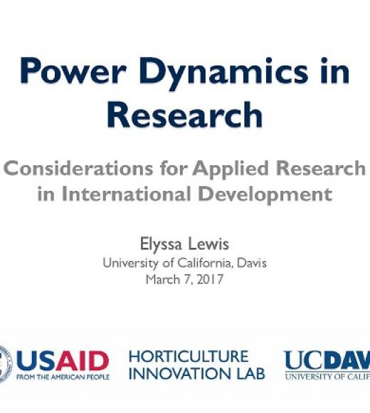 """Power Dynamics in Research - Considerations for Applied Research in International Development, Elyssa Lewis"" title slide"