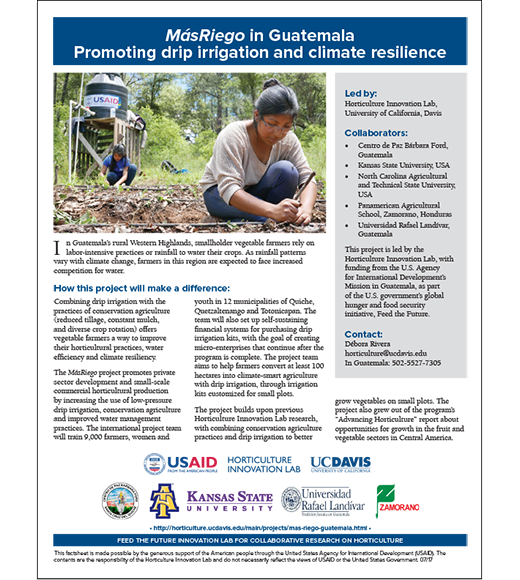 Project fact sheet: MasRiego in Guatemala - Promoting drip irrigation and climate resilience