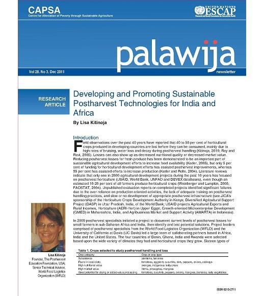 Developing and promoting postharvest technologies research article