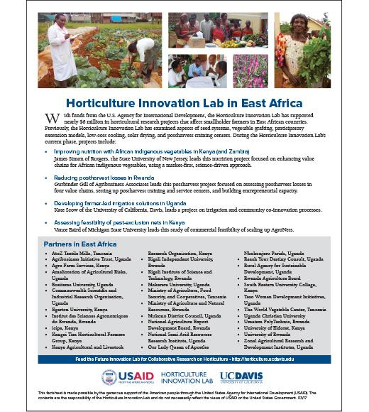 Fact sheet - Horticulture Innovation Lab in East Africa