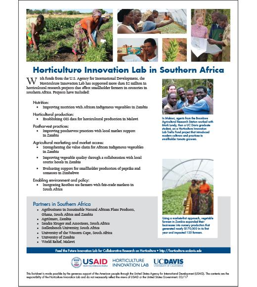 Fact sheet: Horticulture Innovation Lab in Southern Africa