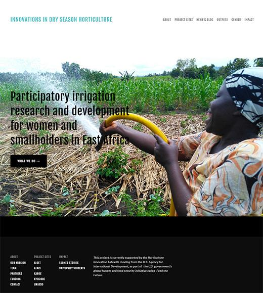Hort Irrigation homepage screenshot - photo of woman farmer holding hose with words Innovations in Dry Season Horticulture and Participatory Irrigation Research