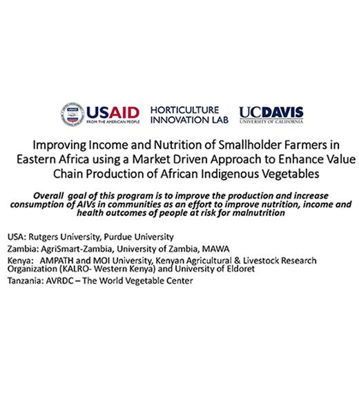 """Improving Income and Nutrition of Smallholder Farmers in Eastern Africa using a Market Driven Approach to Enhance Value Chain Production of African Indigenous Vegetables"" title slide"