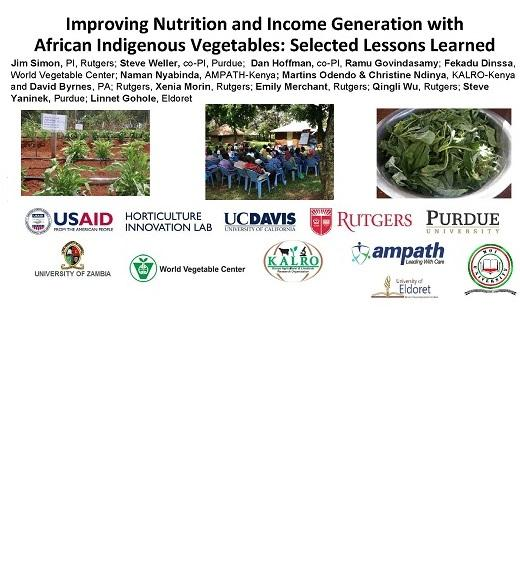 Title Slide: Improving Nutrition and Income Generation with African Indigenous Vegetables: Selected Lessons Learned