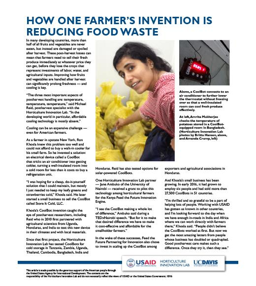 CoolBot fact sheet - How one farmer's invention is reducing food waste