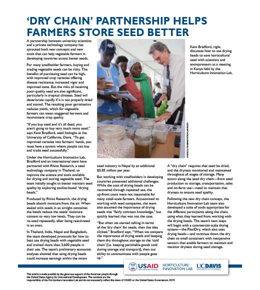 fact sheet- Dry chain partnership helps farmers store seed better
