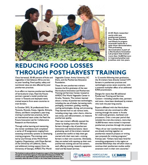 fact sheet - Reducing food losses through postharvest training