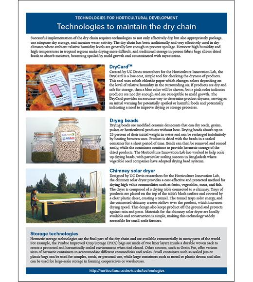 Technologies to maintain the dry chain - 2 sided fact sheet