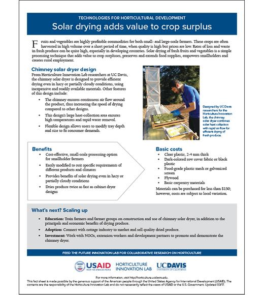 Technology fact sheet: Solar drying adds value to crop surplus