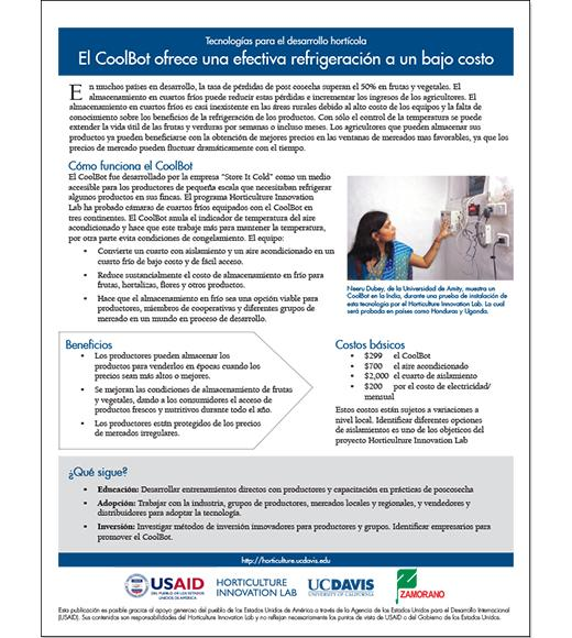 El CoolBot ofrece una efectiva refrigeración a un bajo costo - spanish fact sheet on coolbot
