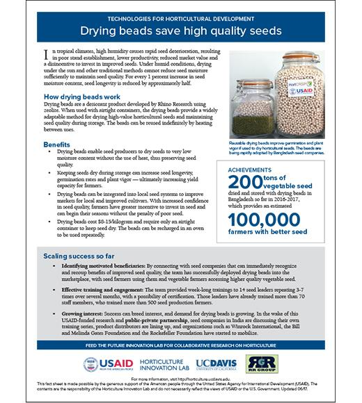 Technology fact sheet: Drying beads save high quality seeds