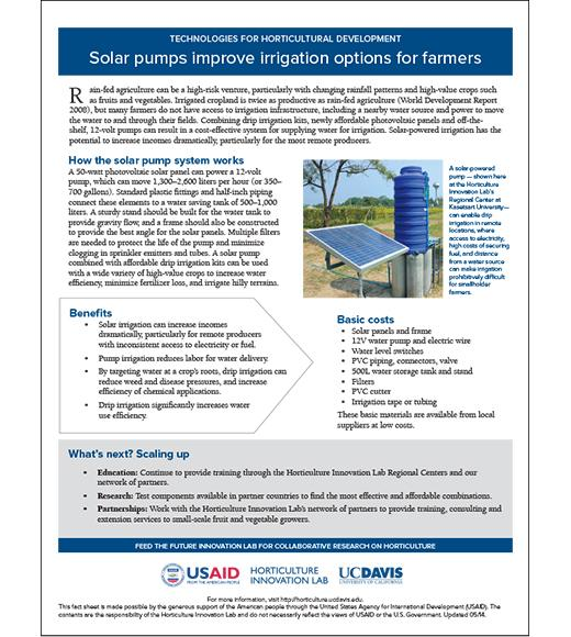 Fact sheet - Solar pumps improve irrigation options  sc 1 st  Horticulture Innovation Lab - UC Davis & Solar pumps improve irrigation options for farmers | Feed the Future ...