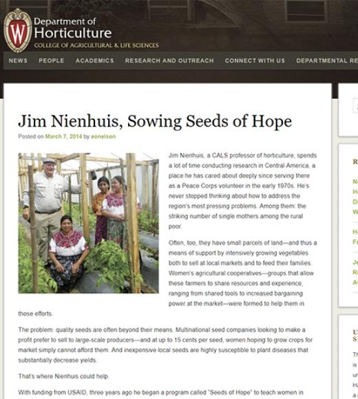 UW Dept of Horticulture webpage - headline: Jim Nienhuis, Sowing Seeds of Hope