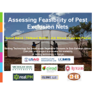 """Assessing Feasibility of Pest Exclusion Nets"" words on photo of a large net hoophouse with two men in front, title slide with logos"