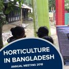 """horticulture in bnagladesh, annual meeting 2018"" text in from of photo of instructor and participants looking at poster"