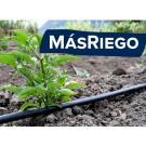 """MasRiego"" in front of photo of drip irrigation and small tomato plant"