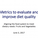 Metrics to evaluate and improve diet quality - introduction to session 3 - title slide