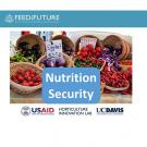 Slide - Feed the Future - Nutrition Security - photos of colorful vegetables at market - USAID - Horticulture Innovation Lab - UC Davis logos