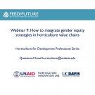 Title slide: How to integrate gender equity strategies in horticulture value chains