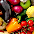 fresh fruits and vegetables - peppers, tomatoes, eggplant, lemons, and more